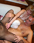 Two filthy British sluts sharing a big stiff senior cock