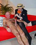 Tall British slut fucking a dirty and old senior guy wild