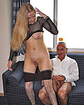 Filthy blonde bimbo gets banged hard by British Jimslip
