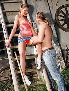 Cute teenager fucked hard by a horny farmer on his farm