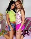 Busty lesbian teenie girl licking her petite girlfriend