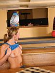 Happy teen girl blows her boyfriends dick in a bowling lane