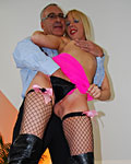 Filthy blonde bimbo enjoys a cock inside her loose twat