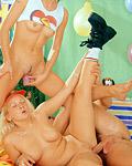 Two naughty busty teenie girls sharing a big erect cock