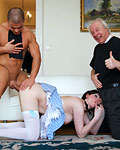 Willing British beelzebub slut fucking holy people in trio
