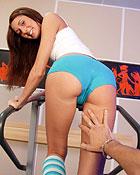 Sexy willing brunette teen jerking his stiff erect boner