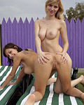 Two busty teenage sweeties toying their tight pussyholes