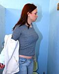 Cheap brunette girl sucking a strangers cock trough a wall