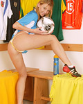 Big breasted soccer loving teenie toying her tight pussy