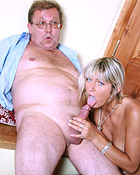 Hard senior penis getting sucked by a cockhorny blonde girl