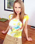 Sweet blonde teen showing her special developed areolas