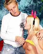 Blonde teen devil enjoys a penis inside her wet pussyhole
