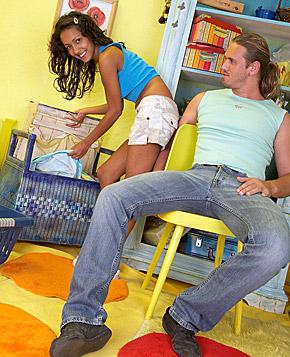Naughty teenie girl enjoys a cock inside her tight pussy