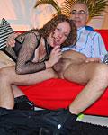 Brunette enjoys a big senior cock inside her loose slit