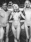 Several nudists from the sixties showing it all outdoor
