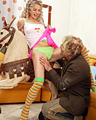 Curly blonde teen takes a thick load on her innocent face
