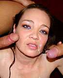 Slutty hooker receives two load of sticky spunk on her face