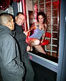 Sexy tattooed window hooker making a tourist cum explode