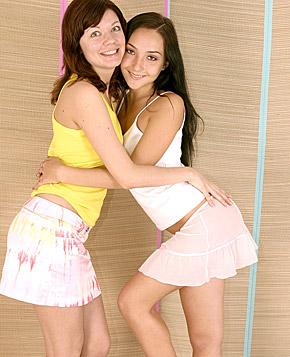 Two cute brunette teen girls enjoying their big fuck toys