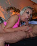Pierced British blonde slut pleases a senior cock for cash
