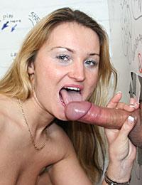 Nasty blonde slut loves tasting a strangers sticky cumload