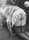 Several vintage car lovers showing their sexy body parts