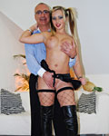 Slutty blonde with fake tits shags a senior for some money