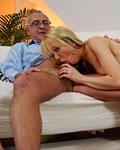 Slutty blonde skank enjoys Jimslip his huge erected meat