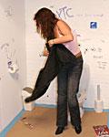 Brunette milf loves pleasing a stranger his boner in toilet
