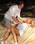 Senior abusing a sleeping teenage girl in the dark woods
