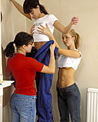 Three cute teenage lesbians decorating their own dorm room