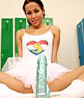 Horny teenage ballet girl toying her pussy in lockerroom