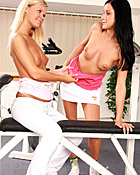 Two teenage lesbians working out and fucking eachothers slit