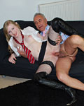 Blonde british schoolgirl fucking Jimslip the senior pimp