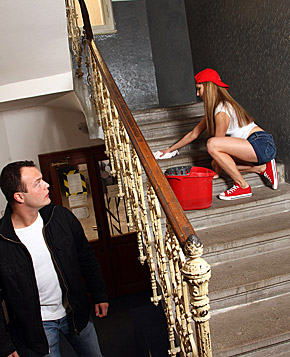 Guy seduces the beautiful teen maid into sex on the stairs