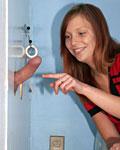 Redhead teen sucking off an anonymous gloryhole erection
