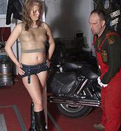 Cute hot teenager gives old senior bike mechanic a blowjob