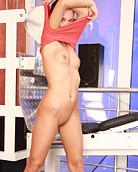 Horny teenage gym babe masturbating solo with big dildo