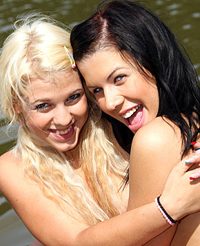 Two very hot sexy lesbians pussy licking boatride outdoors