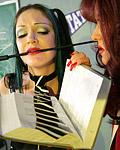 Ripe sensual lesbian mistress spanking her femslaves ass