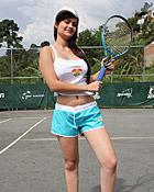 Two hot lesbian latina chicks playing a sexy tennis match