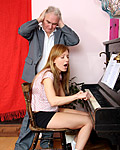 A bad piano playing teenager fucks her own horny teacher