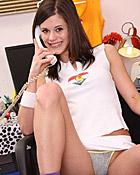 Very horny teenage cutie loves her daring telephone sex