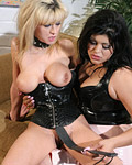 Horny lesbian slave spanked hard by another leather chick