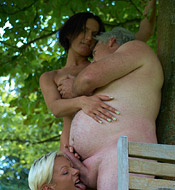 One very lucky gardener gets to fuck two younger hotties