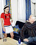 A hot teenage maid shagging her old senior boss hardcore