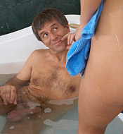 Sweet young babe shagged in the bathtub by horny senior