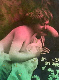 Some vintage naked girls wearing flowers in the thirties