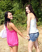 Two hot lesbians slapping their teenage pussies together