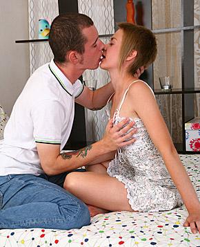 Horny chap jizzing on small teenage titties after fucking